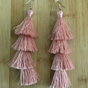 "Drop tassel earrings approx 3.5"". Dusty peach."